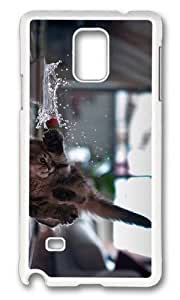 MOKSHOP Adorable funny kitten Hard Case Protective Shell Cell Phone Cover For Samsung Galaxy Note 4 - PC White