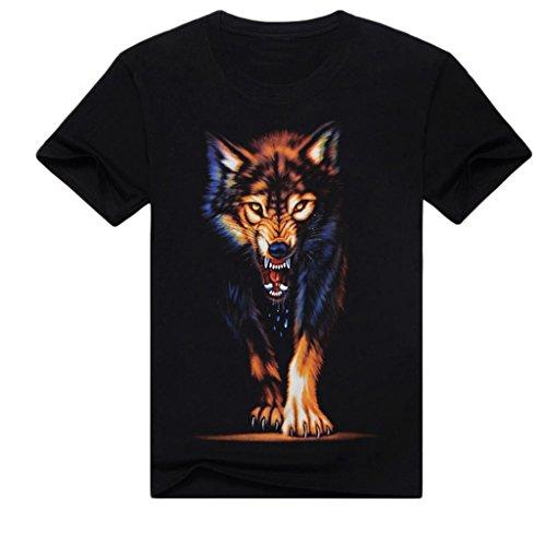 Dantiya Men's Tee 3d Wolf Round Collar Black T-shirt Short Sleeve (L, Black)