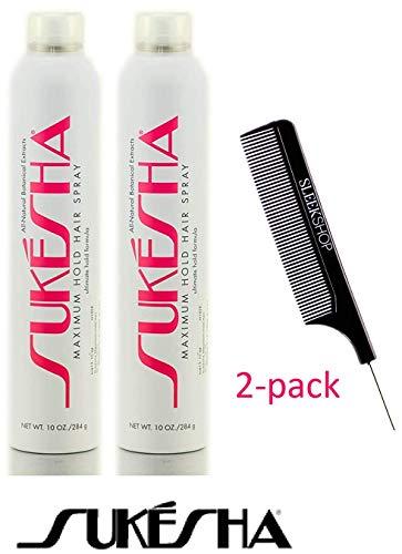 Sukesha Maximum Hold Hair Spray, ultimate hold aerosol formula (with Sleek Steel Pin Tail Comb) (10 oz / 284 gram - pack of 2) (Best Maximum Hold Hairspray)