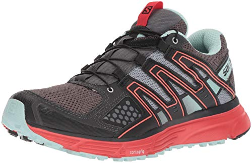 Salomon Women's X-Mission 3 W Trail Running Shoe, Magnet/Black/Poppy red, 7.5 M US