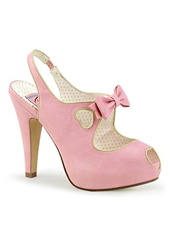 Pin Up Couture BETTIE-03 Womens Cut Out Bow Slingback High Stiletto Heel Sandal, Color Baby Pink Faux Leather, (Couture Shoes Heels)