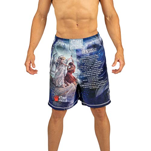 4-Time All American Sublimated Shorts-UFC, MMA, BJJ, Muay Thai, WOD, NOGI, Wrestling, Kickboxing, Boxing Shorts Youth and Men's Sizes (XS, Jacob Wrestled God)