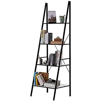 lifewit 4 tiers ladder bookcase leaning bookshelf display wall storage shelves unit carbon steel blackwhite