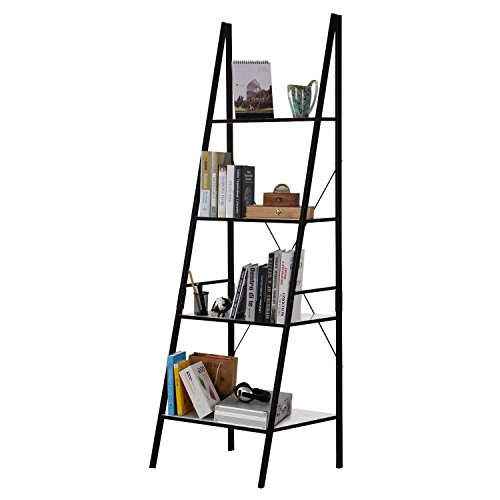 Lifewit 4 Tiers Ladder Bookcase, Leaning Bookshelf Display Wall Storage Shelves Unit Carbon Steel (Black+White) (Furniture Wall White Units)