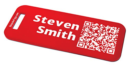 Custom Metal Luggage Tag - Customized Engraved Info & QR Code (Small, Red) ()