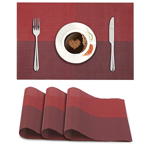 HOKIPO® PVC Vinyl Washable Table Mats for Dining Table – 45×30 cm Placemats Set of 4, Red (AR613) Price & Reviews