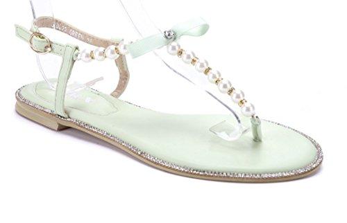 Schuhtempel24 Damen Schuhe Zehentrenner Sandalen Sandaletten Rot Flach Zierschleife/Ziersteine 66FkwH