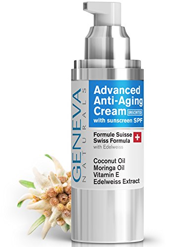 Facial Moisturizer with SPF (Unscented) - Natural Swiss Anti-Aging Formula SPF 20 Features Coconut Oil, Vitamin E, Edelweiss Extract With Everyday Sun Protection for Men & Women - 1oz (Unscented Natural Face)