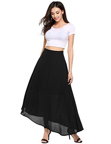 - Zeagoo Summer Chiffon Big Hem Solid Beach Maxi Skirt,Black,Large