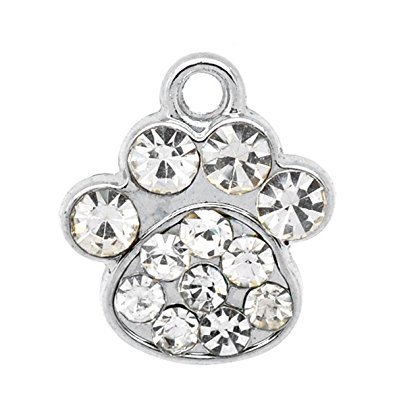 AnnaKJewels Bulk 24 pieces Dog Paw Charms With Crystals, Silver Tone, Fast Shipping from USA