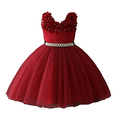 Glamulice Vintage Flower Girl Dress 3D Floral Embroidery Pearl Belt Sash Tulle Swing Party Dresses Age 2-10Y (2-3 Years, Wine Red) ()