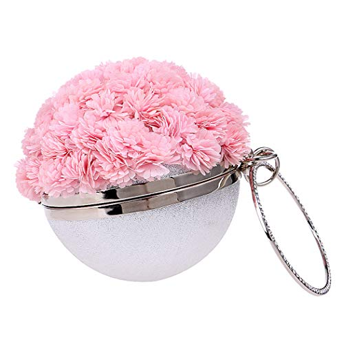Flower Bag Bridal Crossbody Small Evening Party Handmade Handbag Clutch Elegant Portable Pink Bag Purse Ms Dinner Ladies Handbag OqXBwvt