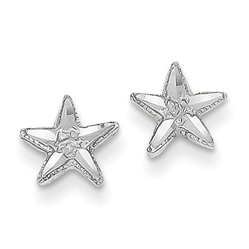 Lex & Lu 14k White Gold D/C Starfish (White Gold Starfish Earrings)
