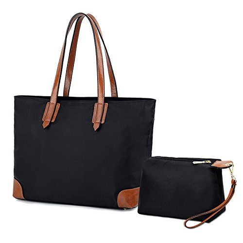 YALUXE Women's Stylish Leather Oxford Nylon Tote Bag Set with large Wrist Purse Travel Shoulder Bag by YALUXE