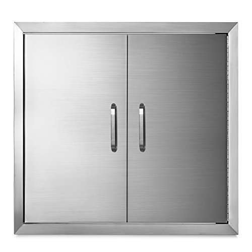 """(Happybuy Double walled Access Door 26""""x 24""""BBQ Island Door Stainless Steel for Commercial BBQ Island, Outdoor Grilling Station, Outdoor Kitchen, Flush Mount, Brush (26""""x 24"""" Double walled Access Door))"""