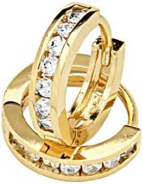 14k Gold Plated Brass 3mm Channel-set Hoop Huggy Earrings