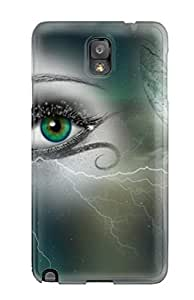 Durable Defender Case For Galaxy Note 3 Tpu Cover(eyes Of The Universe Artistic Green Fantasy Eye Abstract Fantasy)