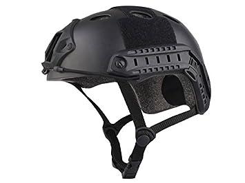 haoyk multifunción Deporte casco protector casco táctico para Airsoft y Paintball tipo PJ rápido casco, negro