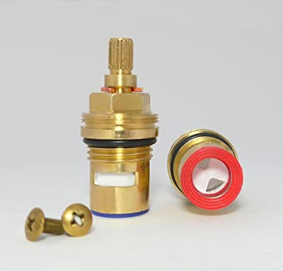 Replacement Brass ceramic cartridge faucet Stem valve QUARTER TURN 20 teeth x 53mm x 12mm spindle length (PAIR Hot & Cold)