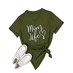 Ofenbuy Womens T Shirts V Neck Short Sleeve Graphic Tee Mom Life Mothers Day Shirts Casual Tops