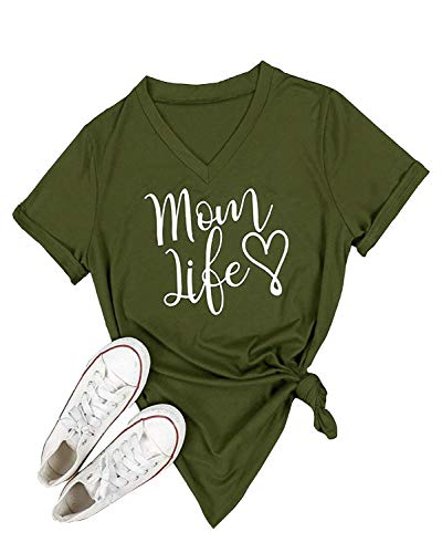 Ofenbuy Womens T Shirts V Neck Short Sleeve Graphic Tee Mom Life Shirt Casual Summer Tops,X-Large,Army Green ()