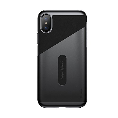 iPhone X Wallet Case, Baseus Ultra Slim Card Pocket Design Protective Cover for Apple iPhone X (Black)