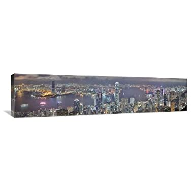 Hong Kong Night Skyline 60  x 15  Gallery Wrapped Canvas Wall Art