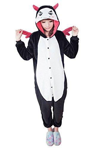 Sensfun Black and White Pajamas Animal Cute Adult Onesie Cosplay Costume(Demon S)