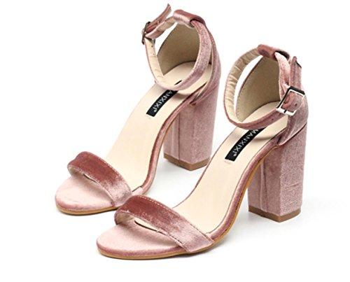 Donne YCMDM semplice scamosciata Word fibbia in oro velluto di alta con tacco Scarpe singoli pattini , pink , 36