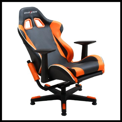 Dx Racer Pu Leather Video Gamer Chair Black And Orange Fa96no