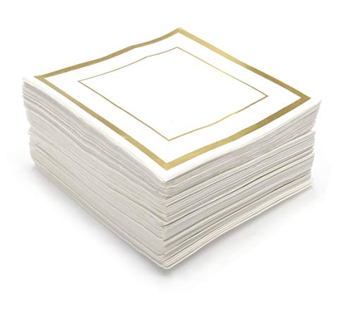 GLAM Cocktail Napkins, Gold Trim - 100 Pack | 5-Inches by 5-Inches Wedding Napkins, Paper | 5x5 Gold Napkins, Disposable | Party Napkins, White and Gold | Beverage Napkins, Gold Rim -