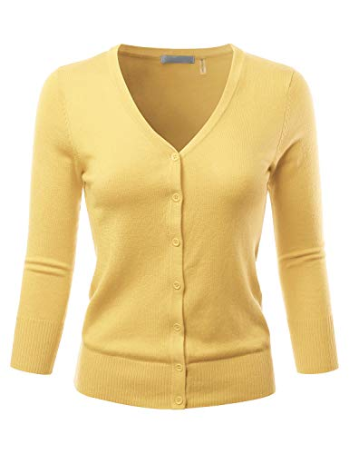 EIMIN Women's 3/4 Sleeve V-Neck Button Down Stretch Knit Cardigan Sweater BABYYELLOW S ()