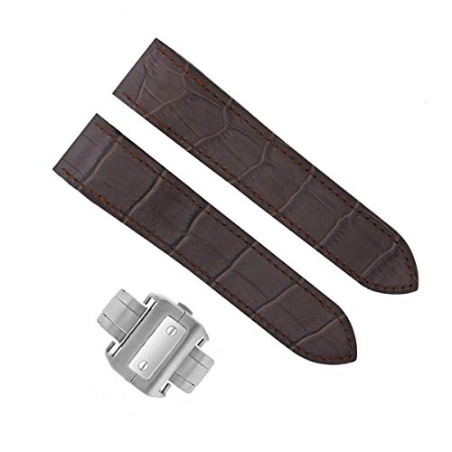Cartier Brown Strap - Ewatchparts Complete 24.5MM Leather Strap Band for Cartier Santos 100 Chrono XL D/Chocalate Dark Brown