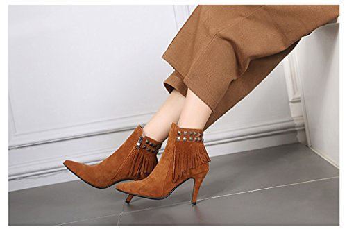 Spring and Autumn Pointed Slim High Heel Tassel Short Boots Yellow qFASKsKYUe