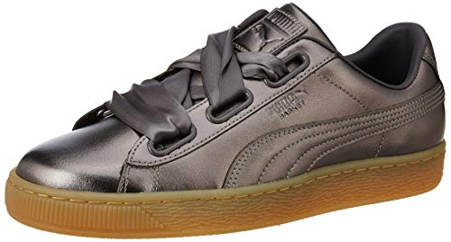 Grigio Luxe Pelle Suede Donna Sneakers Puma Heart gxqw0PazZ