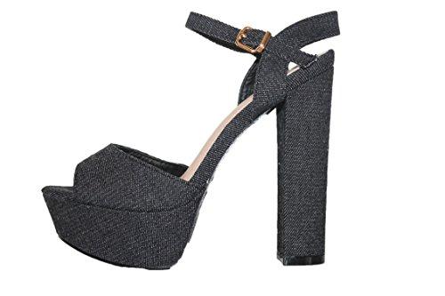 Bleu Cm Paris noire Navy Jeans Compensées Sandales Plateforme femme Style 0x0Y1dqrOw