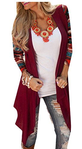 M Irregular Cardigan Red Fashion Sleeve Women's Long Printing amp;S amp;W Open x0qrnwF07