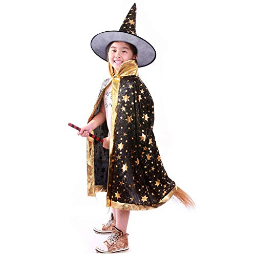 (Halloween Costumes Witch Wizard Cloak with Hat Wizard Cape and Hat Child's Costume for Kids Boys)