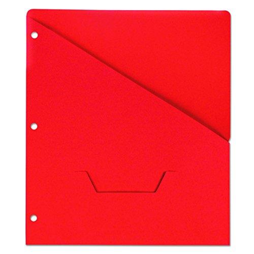 (Universal Slash-Cut Pockets for Three-Ring Binders, Jacket, Letter, 11 Pt., Red, 10/Pack)