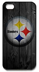 LZHCASE Personalized Protective Case for iPhone 5 - NFL Pittsburgh Steelers in Wood Background
