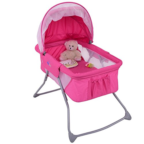 Baby Rocking Bassinet Bed Cradle Sleeper Pink Lightweight Foldable with Mosquito Net MD Group by MD Group