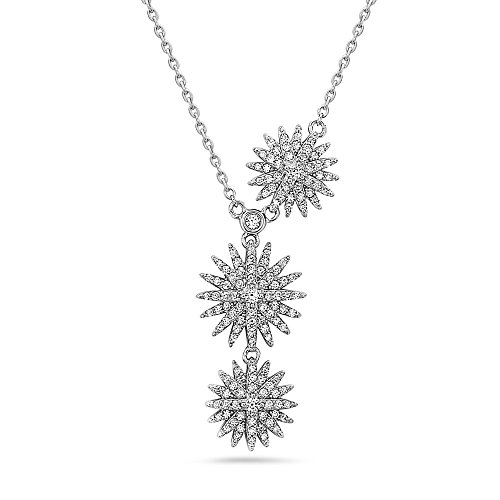 Stars Crystal Necklace | 925 Sterling Silver Crystal Star Pendant for Women | Dangling Crystal Star Necklace | CHARLEZ ()