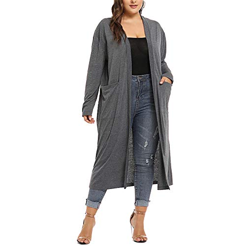 URIBAKE ❤ Fashion Women's Cardigan Autumn Winter Plus Size Long Sleeve Waterfall Open Front Outerwear Gray