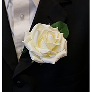Angel Isabella Large Boutonniere - Real Touch Open Rose Keep-sake Boutonniere. Pin included … 89