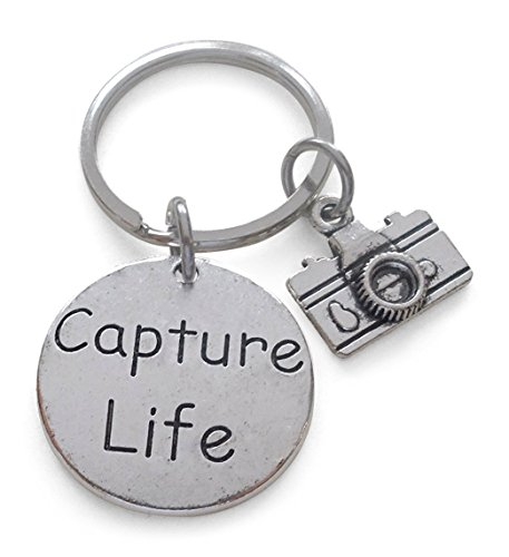 Capture Life Disc Charm with Camera Charm Keychain Encouragement Gift