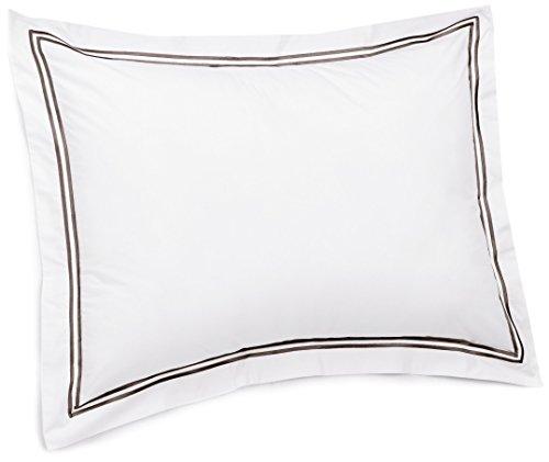 Pinzon 400-Thread-Count Egyptian Cotton Sateen Hotel Stitch Sham - King, Espresso - Flange Sham