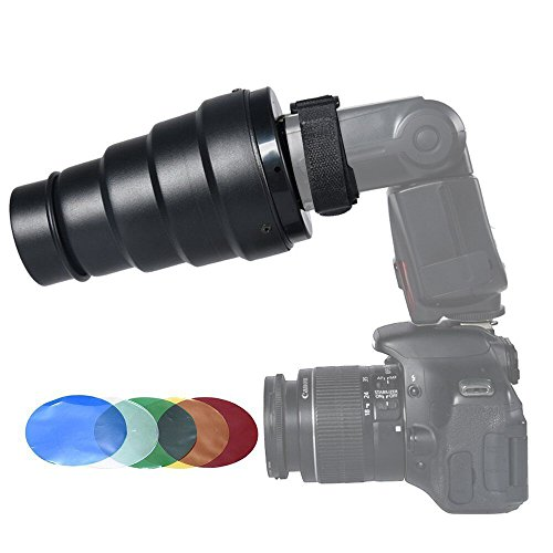 Soonpho Snoot with Honeycomb Grid 5pcs Color Filter Kit for Speedlight Speedlite Flash Flash Accessories