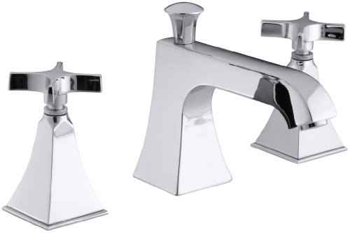 KOHLER K-T428-3S-CP Memoirs Bath- or Deck-Mount High-Flow Bath Faucet Trim with Cross Handles and Stately Design, Valve Not Included, Polished (Memoirs Stately Shower Faucet Cross)
