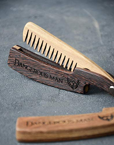 Beard comb wood by Enjoy The Wood moustache comb Anti-Static Wooden Straight Razors Comb for Men. With beard Balm and beard oil. Grooming kit. Beard care for men. Great idea for Fathers Day gift ()