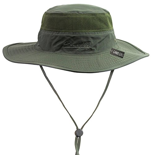 Camo Coll Outdoor Sun Cap Camouflage Bucket Mesh Boonie Hat (Army Green, One Size)